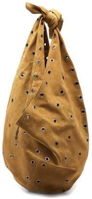 Saint Laurent Hobo Eyelet Embellished Suede Bag - Womens - Light Brown