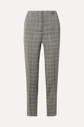 Akris Colin Checked Wool Slim-leg Pants - Gray