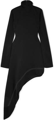 Ellery Bauhaus Asymmetric Cutout Hammered-satin Turtleneck Dress - Black