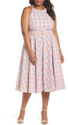 Eliza J Check Halter Midi Fit & Flare Dress