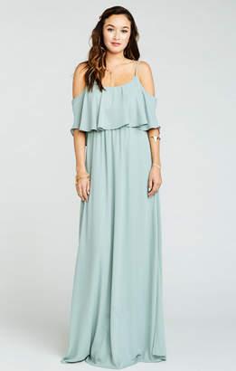 Show Me Your Mumu Caitlin Ruffle Maxi Dress ~ Silver Sage Crisp
