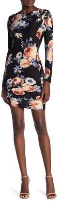 Planet Gold Long Sleeve Floral Print Ruched Dress