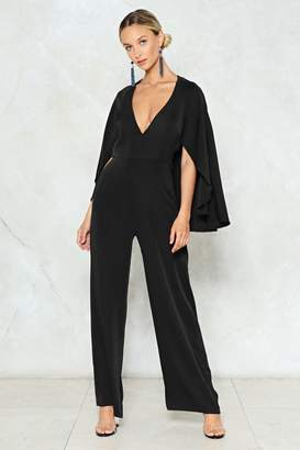 Nasty Gal Cape Up the Good Work Plunging Jumpsuit