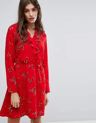Vero Moda Floral Printed Tea Dress with Frill Detail