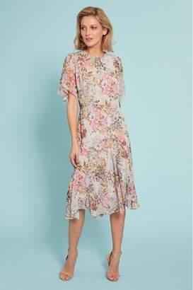 Gina Bacconi Womens Grey Estera Floral Chiffon Dress - Pink