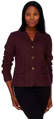 Isaac Mizrahi Live! Tweed Blazer w/ Velvet Collar