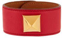 Estate Leather Bracelet w/ Stud Red