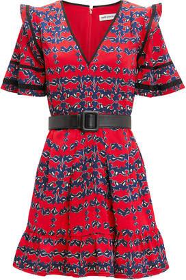 Self-Portrait Self Portrait Red Organic Print Mini Dress