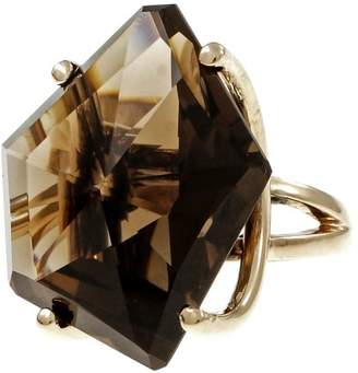 14K Yellow Gold with 48.00ct Smoky Quartz Ring Size 6.25