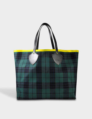 Burberry Reversible XL Tote Bag in Racing Green and Cobalt Blue Tartan Bonded