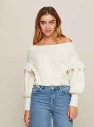 f3ac2bae7087 Miss Selfridge Cream Tassel Cable Bardot Knitted Jumper