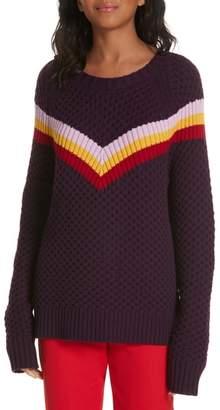 Milly Varsity Stripe Popcorn Stitch Wool Blend Sweater
