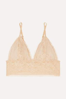 Anine Bing Magda Stretch-lace Soft Cup Triangle Bralette - Neutral