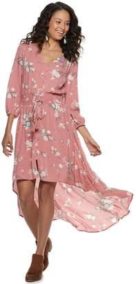 American Rag Juniors' Floral High-Low Crinkle Dress