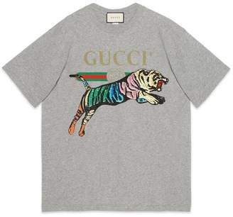 Gucci Oversize cotton T-shirt with tiger
