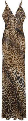 Saint Laurent sleeveless V-neck sheer leopard print dress