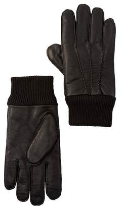 14th & Union Leather Faux Fur Lined Touch Screen Gloves