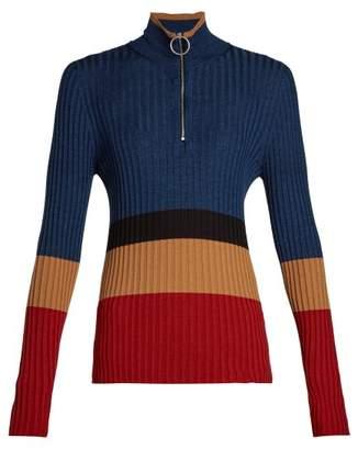 Marni High Neck Colour Block Sweater - Womens - Red Multi