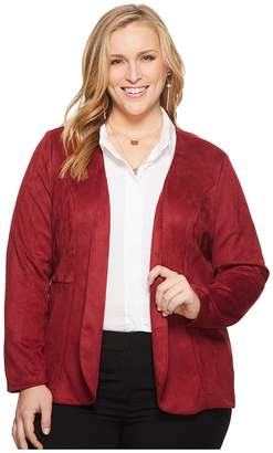 Kiyonna Mackenzie Faux Suede Blazer Women's Clothing