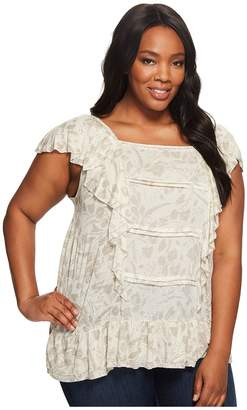 Lucky Brand Plus Size Woven Mix Ruffle Tank Top Women's Short Sleeve Pullover
