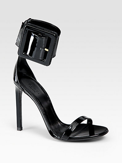 Gucci Victoire Patent Leather Buckle Ankle Strap Sandals