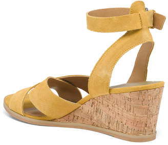 Ankle Strap Cork Wedge Suede Sandals