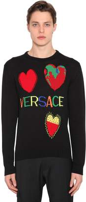 Versace Intarsia Hearts Wool Knit Sweater