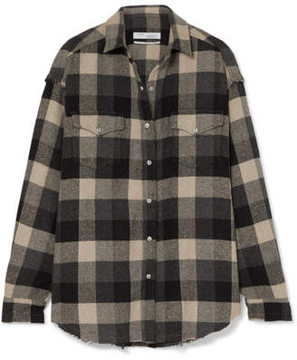 IRO Garance Plaid Cotton-blend Flannel Shirt - Black
