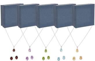Set of 5 Gemstone Stud Earrings & Necklaces, Sterling Silver