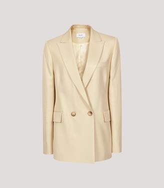 Reiss Olivia - Satin Twill Tailored Blazer in Lemon