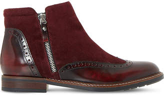 Dune Ladies Burgundy Classic Pandalla Leather and Suede Ankle Boots