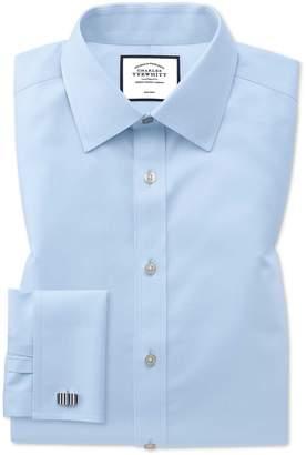 Charles Tyrwhitt Extra Slim Fit Sky Blue Non-Iron Twill Cotton Dress Shirt French Cuff Size 14.5/32