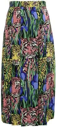 Gucci Leopard print silk skirt