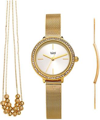 Burgi Women's Stainless Steel Watch, Bracelet, & Necklace Set