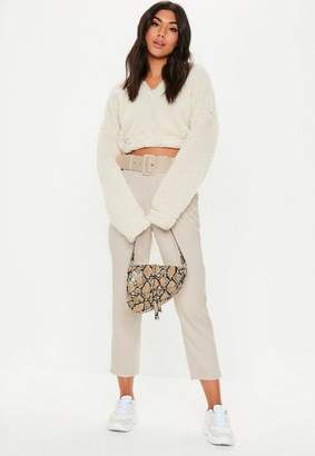 Missguided Stone Woven Belted Cropped Cigarette Trousers, Stone
