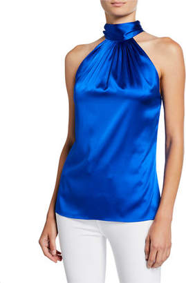 Ramy Brook Lori Tie-Neck Silk Halter Top