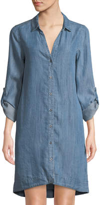 Dex Button-Down Chambray Shift Dress with Lace-Up Back