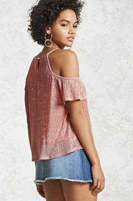 Forever 21 Metallic Open-Shoulder Top