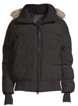 Canada Goose Savona Coyote Fur-Trim Hooded Bomber Jacket