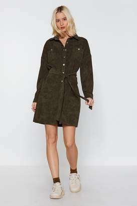 Nasty Gal Womens Life'S Too Shirt Corduroy Shirt Dress - Green - 6