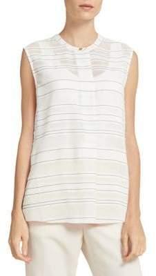 Donna Karan Striped Sleeveless Henley Top