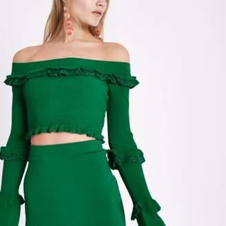 River Island Womens Green glitter knit frill bardot crop top