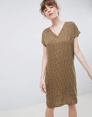 Ichi Mini Moon Print V-Neck Shift Dress