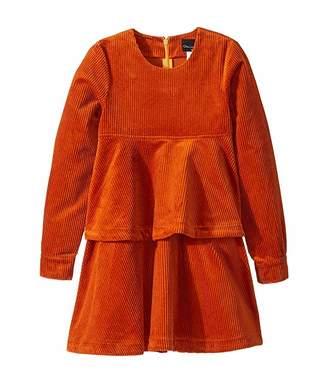 Oscar de la Renta Childrenswear Long Sleeve Cotton Corduroy Tiered Dress (Toddler/Little Kids/Big Kids)