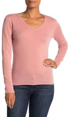 Magaschoni M Long Sleeve V-neck Cashmere Pullover