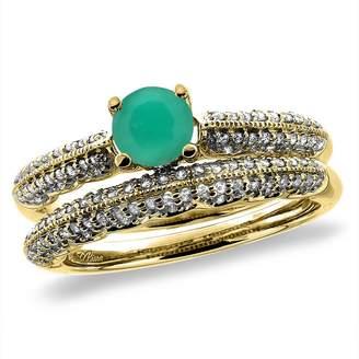 Sabrina Silver 14K Yellow Gold Diamond Natural Emerald 2pc Engagement Ring Set Round 5 mm, size 5