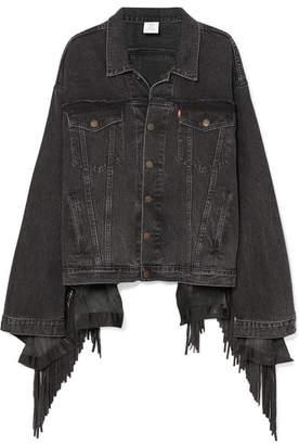 Vetements Oversized Distressed Fringed Denim Jacket - Black
