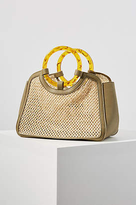 Anthropologie Portia Woven Ring Handle Tote