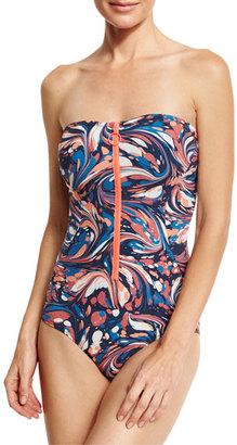 Stella McCartney Marble-Print Zip-Front Bandeau One-Piece Swimsuit, Multicolor $245 thestylecure.com
