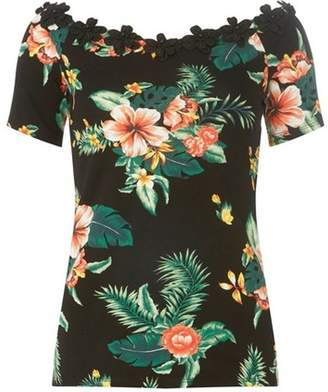 Dorothy Perkins Womens **Tall Black Tropical Trim Bardot Top